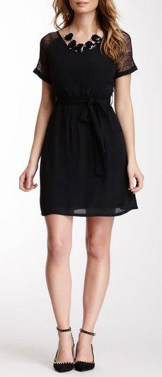 Lace Panel Mini Dress. Love those sleeves!