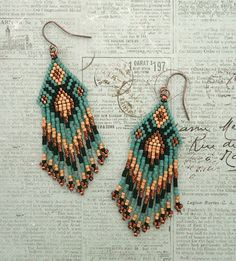 Fringe Earrings #84 - Eucalyptus & Copper