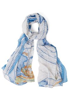 Creative Crusader Scarf. Youre blazing new trails every day with your start-up, sweeping into the office with a bevy of new ideas, and this map scarf trailing behind you. #blue #modcloth