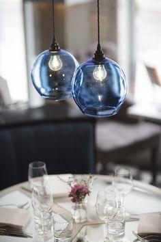 Curiousa & Curiousa, Hand-blown Glass Pendants. Medium, Round, Sky Blue.  www.curiousa.co.uk