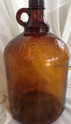 Bathroom Jug vintage half gallon clorox bleach brown two finger jug thatcher