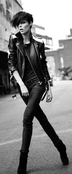 i like the lighting, pose and ensemble. With curls and shades**   Leather Jacket+Skinnies