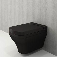 Toiletpot Hangend Letta 52x36x40cm Wandcloset Keramiek Diepspoel Nano Coating EasyClean Rimfree Mat Zwart met Toiletbril Meet, Bathroom, Shower, Bedrooms, Living Room, Washroom, Bath Room, Bath, Bathrooms