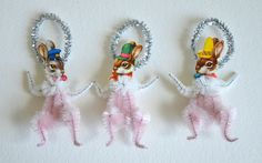 Vintage Style Chenille Pipe Cleaner Stem * DIY Easter Bunny Trio * Ornament Inspiration