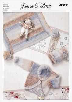Cardigan, Hat and Blanket in James C. Brett Baby Marble DK (JB011)