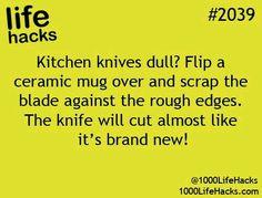 Sharpen a knife blade on the bottom of an old ceramic mug.