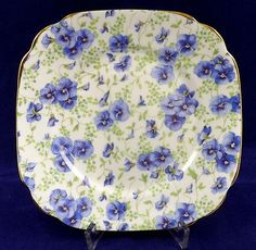 Royal Albert Pansy Bread Butter Square Plate Chintz Bone China England 6.25 in