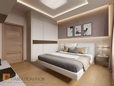 "Interior of the house in a modern style, the cottage village ""Heaven"", 272 sq. Bedroom False Ceiling Design, Modern Bedroom Design, Master Bedroom Design, Modern Interior Design, Home Bedroom, Bedroom Decor, Bedroom Designs, Bedroom Ideas, Bedroom Layouts"