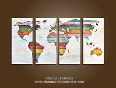 custom rustic world map  48 x 24 rustic by shannacreations on Etsy