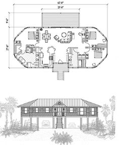, 3 Bedrooms, 2 Baths, Piling Collection by Topsider Homes Beach House Plans, Country House Plans, Modern House Plans, Small House Plans, House Floor Plans, Cracker House, Octagon House, Earth Bag Homes, Sims 4 House Building