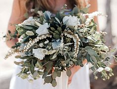 San Diego Wedding Flowers: Beach themed bridal bouquet with eucalyptus and white flowers.