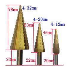 On sale US $15.80  3Pcs/lot Power Tool Set HSS Large Step Cone Titanium Coated Metal Drill Bit Cut Tool Accessories Hole Cutter 4-12/4-20/4-32mm  #Pcslot #Power #Tool #Large #Step #Cone #Titanium #Coated #Metal #Drill #Accessories #Hole #Cutter  #automotive