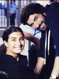 Tuba Buyukustun as Elif and Engin Akyürek as Ömer in the Turkish TV series KARA PARA ASK, 2014-2017.