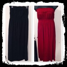 Lot of 2 strapless maxi cover ups These say cover ups but I wore as a maxi I believe the red one is longer. One is above ankle and one is ankle length. I can't remember.. Already packed and I forgot to write on package the specs. Sorry ☹ they have lots of stretch can accommodate a size XL Faded Glory Swim Coverups