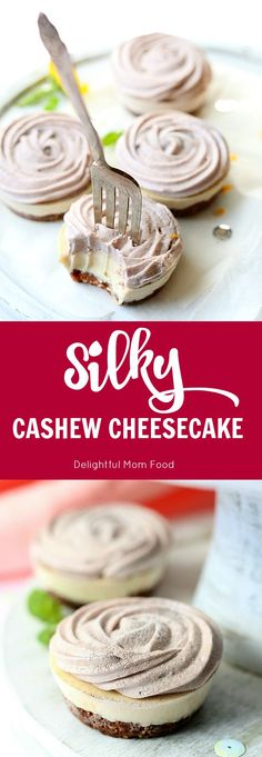 Vegan Cashew Cheesecake With Strawberry Rose Topping | Delightful Mom Food