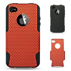 Premiun Hybrid Black Skin + Apex Hard Orange Rubber Phone Protector Cover Case for Iphone 4 ATT and Verizon
