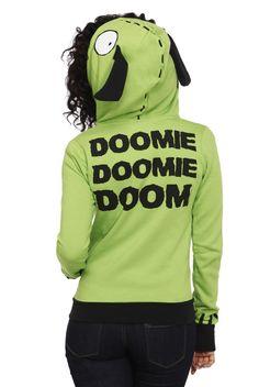 "This lime green hoodie features Gir-like details: big plastic zipper, eyeballs and floppy ears. The back reads ""Doomie Doomie Doom."" Striped..."