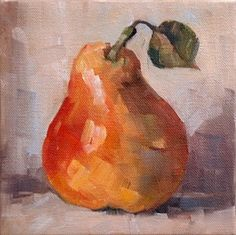 Pera - still life oil painting of a pear, original painting by artist Deb Kirkeeide | DailyPainters.com
