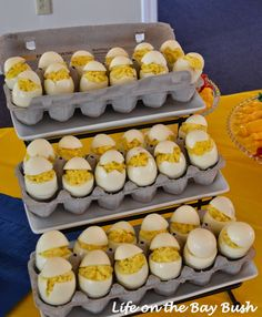 Check out Sister's Barn Yard Baby Shower! This is one of the cutest ideas from my Sister's Farm Theme Baby Shower Food; Cute Deviled Eggs;