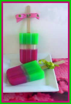 Watermelon Green Apple - Soap Popsicle- I don't like watermelon but the idea is nice