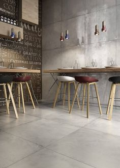 Large cement looking tiles - on the floor + up the wall, such a fantastic space # Interior Styling, Interior Decorating, Interior Design, Bakery Interior, Home Id, Modern Spaces, Ping Pong Table, Wall Tiles, Cement Tiles
