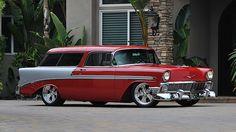 1956 Chevrolet Nomad Resto Mod Art Morrison Chassis, Professional Build presented as lot at Anaheim, CA Chevrolet Nomad, Chevy Nomad, Chevrolet Bel Air, Chevrolet Corvette, Chevrolet Trucks, Classic Hot Rod, Classic Cars, My Dream Car, Dream Cars