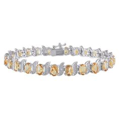 Allura 10 4/5 CT. T.W. Citrine and 0.03 CT. T.W. Diamond Bracelet in Sterling Silver (GH I3) (7), Women's, Pale Yellow