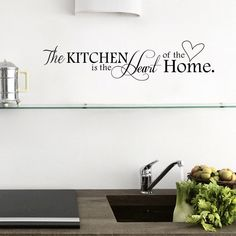 New Kitchen is Heart of the Home Letter Pattern Wall Sticker PVC Removable Home Decor DIY wall art MURAL