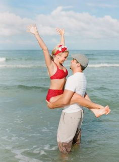 """The Notebook"" inspired engagement session... too bad I'm a laaaard and this picture would not be this cute... it'd send the message... ""Let's get this beached whale back into the ocean, oh and save that poor man!"""