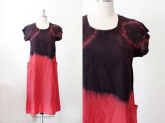 Vintage Redone Dip Dyed 80's Linen Blended Dress by wemovevintage, $78.00