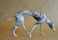 Hound, Unique Whimsical Paper Mache Dog Sculpture - Custom Pieces Available Upon Request Paper Mache Sculpture, Dog Sculpture, Le Chihuahua, Paper Mache Animals, Greyhound Art, Paper Mache Crafts, Paperclay, Expo, Wire Art