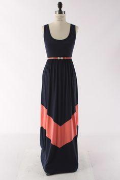 ShoeParty.com - Navy Coral Chevron Maxi Dress, $24.99 (http://www.shoeparty.com/navy-coral-chevron-maxi-dress/)