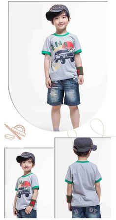 Boys Tshirt Free Shipping Kids Summer Clothing Children Cars Printed Tops,Cartoon Pullovers K0854