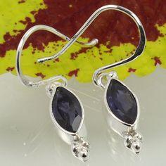 Genuine IOLITE Faceted Gemstones 925 Solid Sterling Silver Stunning Earrings #SunriseJewellers #DropDangle
