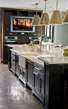 Counter Height Bar -like this look in a big kitchen. I also like the big tv great for   football get togethers and cooking shows!!