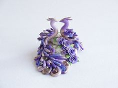 Purple Peacock cake tops | Lilac peacock wedding cake topper with rose detailing handmade from ...