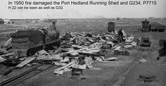 1950 Port Hedland, fire at train sheds.