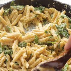 This super quick dinner is about to change your life! One-Pot Creamy Spinach Pasta has basically no prep time, and is totally dairy-free and vegan. dinner recipes plant based videos One-Pot Creamy Spinach Pasta Spinach Pasta Recipes, Vegetarian Pasta Recipes, Easy Pasta Recipes, Vegan Dinner Recipes, Vegan Dinners, Dairy Free Recipes, Pasta Recipes Lactose Free, Vegan Quick Dinner, Meals With Spinach