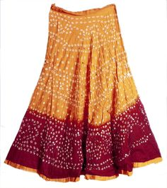 Dark Saffron with Dark Red Tie and Dye Tribal Style Ghagra Skirt with Sequins…