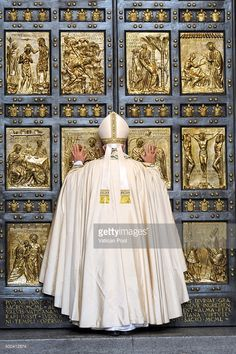 Pope Francis opens the Holy Door of St. Peter's Basilica on December 2015 in Vatican City, Vatican. During the solemnity of the Immaculate Conception of the Blessed Virgin Mary, Pope Francis. Get premium, high resolution news photos at Getty Images Sacred Architecture, Church Architecture, Papa Francisco, Catholic Art, Roman Catholic, Year Of Mercy, St Peters Basilica, Lady Of Fatima, Immaculate Conception