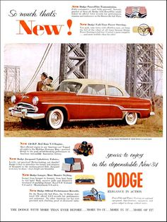 """1954 Dodge Ad: """"So Much That's New"""" - http://wildaboutcarsonline.com/"""