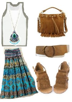 Boho chic style outfit idea!! Great for summer time. Built with #Fashiers app