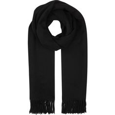 Acne Studios Canada Black Wool Scarf (2 605 ZAR) ❤ liked on Polyvore featuring accessories, scarves, woolen scarves, fringe scarves, wool shawl, acne studios and woolen shawl
