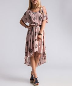 Mauve Geometric Cutout Hi-Low Dress #zulily #zulilyfinds
