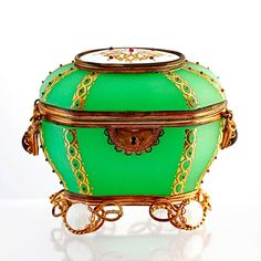 Antique French Palais Royale green Opaline glass casket, jewelled hinged box