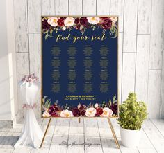 Navy Wedding Seating Chart Template Printable Burgundy Floral