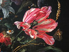 Jan Davidsz de Heem - Vase with Flowers (detail). Compared to the flower still-lifes of the early seventeenth century, the bouquets by De Heem are a real floral explosion. Baroque Painting, Historia Natural, Oil Painting Flowers, Flower Oil, Botanical Art, Oeuvre D'art, Painting Inspiration, Les Oeuvres, Still Life
