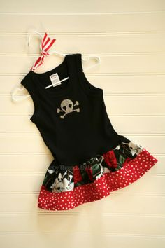 Custom Boutique Skull and Roses Dress Pirate Dress Scull Dress Girls Dress Baby dress Girls Clothing  Available 0-3 months through Size 6/8 on Etsy, $24.00