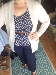 Navy Dot, Navy Pants and Oatmeal Cardigan ... Cognac Leather Accents
