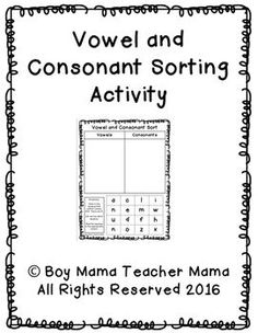 Boy Mama Teacher Mama: A FREE sorting activity for students learning the difference between vowels